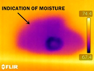 Moisture in drywall - infrared inspection